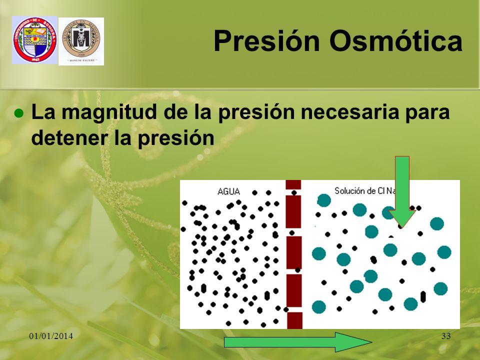01/01/201433 Presión Osmótica La magnitud de la presión necesaria para detener la presión