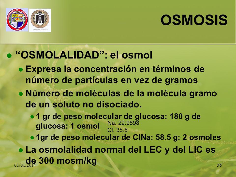 01/01/201435 OSMOSIS OSMOLALIDAD: el osmol Expresa la concentración en términos de número de partículas en vez de gramos Número de moléculas de la mol