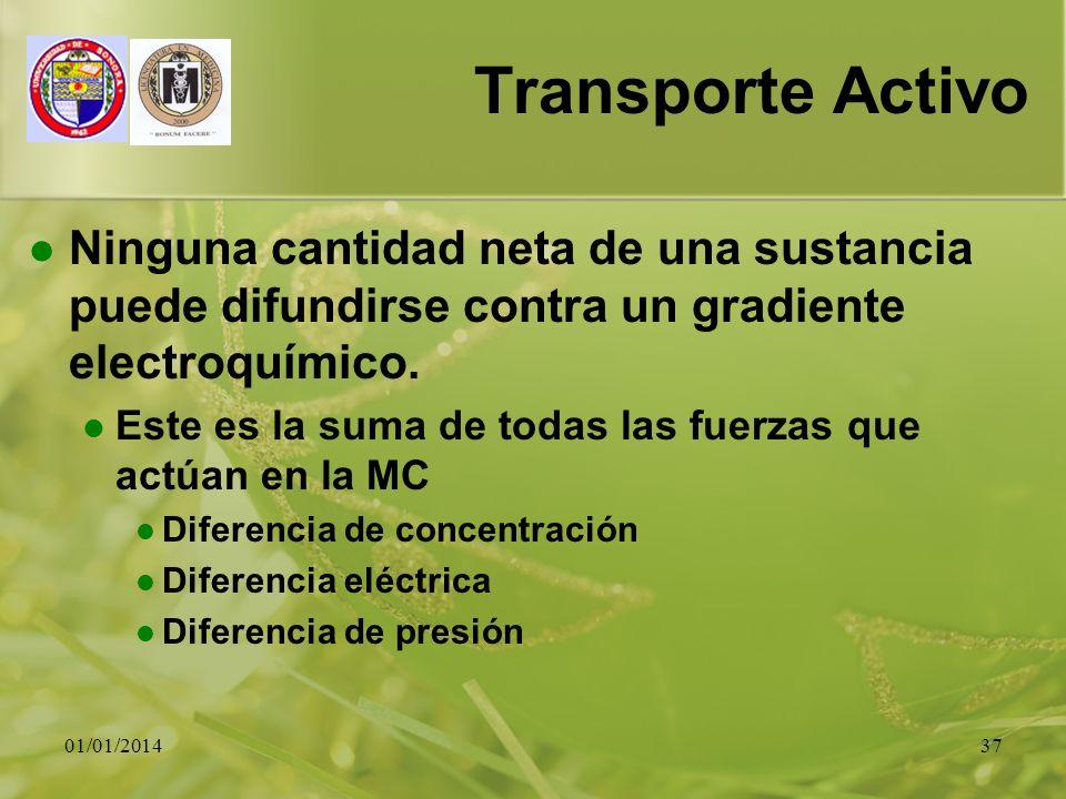 01/01/201437 Transporte Activo Ninguna cantidad neta de una sustancia puede difundirse contra un gradiente electroquímico. Este es la suma de todas la