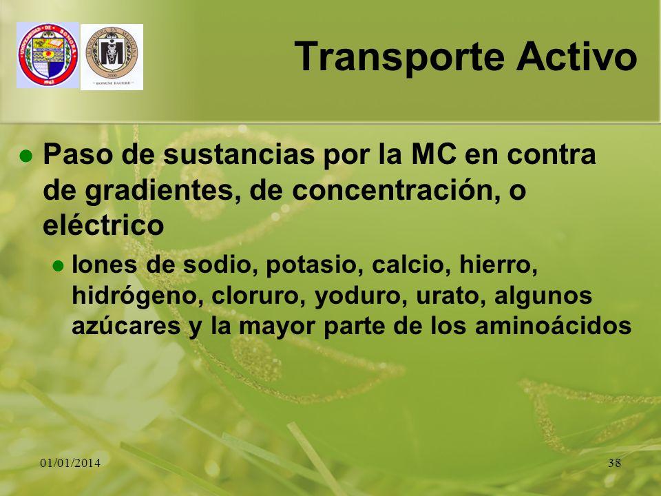 01/01/201438 Transporte Activo Paso de sustancias por la MC en contra de gradientes, de concentración, o eléctrico Iones de sodio, potasio, calcio, hi