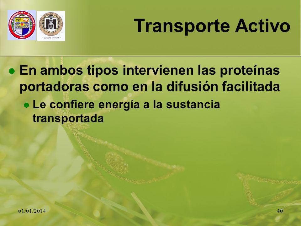 01/01/201440 Transporte Activo En ambos tipos intervienen las proteínas portadoras como en la difusión facilitada Le confiere energía a la sustancia t