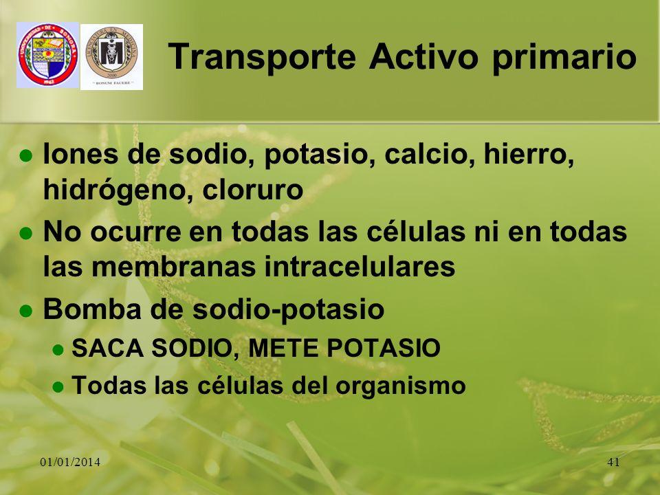 01/01/201441 Transporte Activo primario Iones de sodio, potasio, calcio, hierro, hidrógeno, cloruro No ocurre en todas las células ni en todas las mem