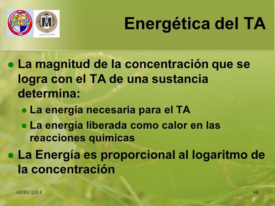 01/01/201448 Energética del TA La magnitud de la concentración que se logra con el TA de una sustancia determina: La energía necesaria para el TA La e