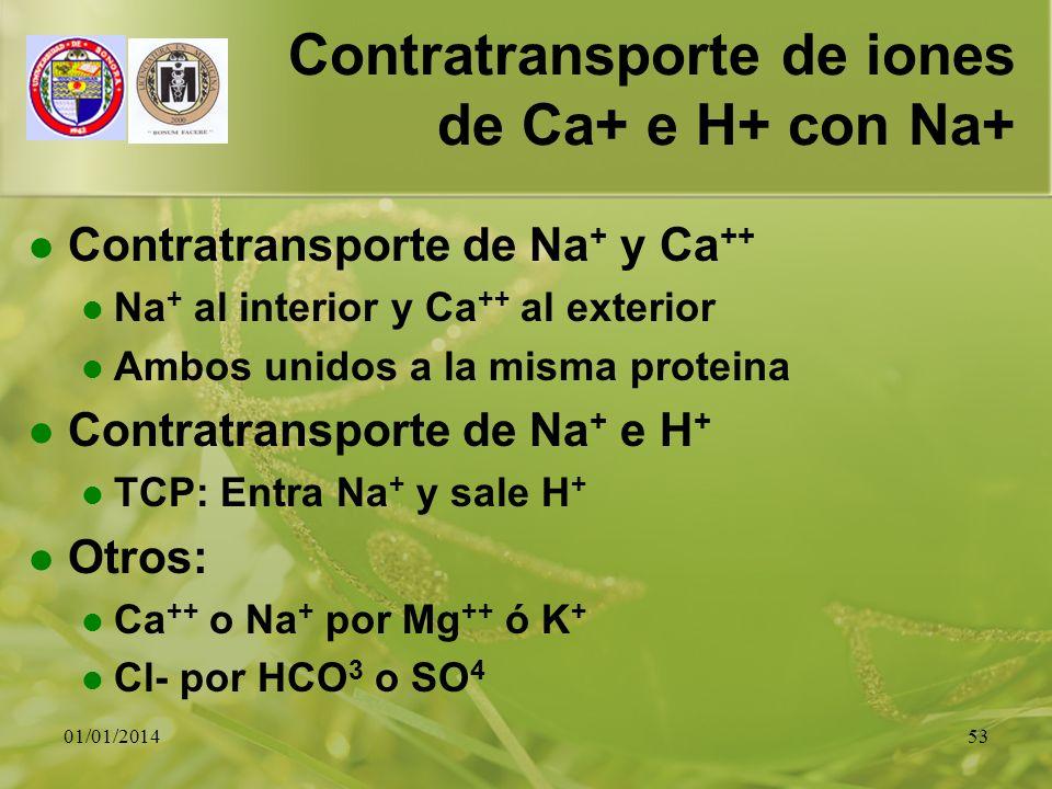 01/01/201453 Contratransporte de iones de Ca+ e H+ con Na+ Contratransporte de Na + y Ca ++ Na + al interior y Ca ++ al exterior Ambos unidos a la mis