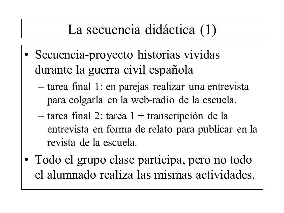 La secuencia didáctica (1) Secuencia-proyecto historias vividas durante la guerra civil española –tarea final 1: en parejas realizar una entrevista pa