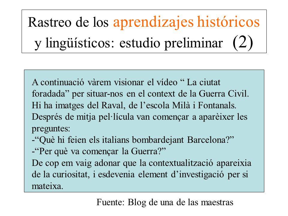 Rastreo de los aprendizajes históricos y lingüísticos: estudio preliminar (2) A continuació vàrem visionar el vídeo La ciutat foradada per situar-nos