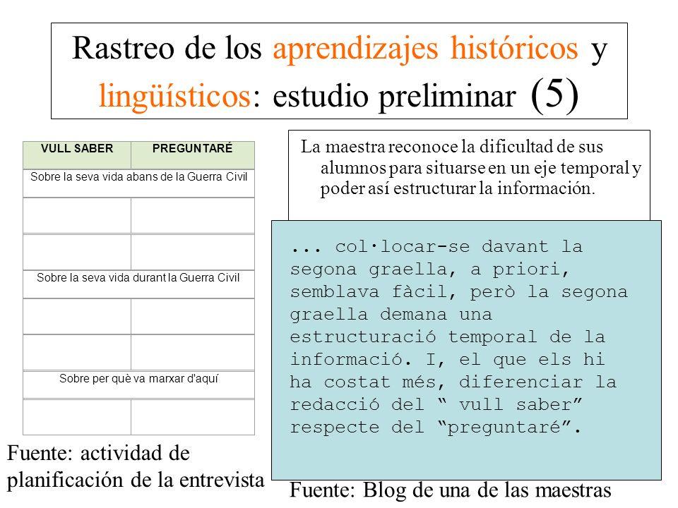 Rastreo de los aprendizajes históricos y lingüísticos: estudio preliminar (5) La maestra reconoce la dificultad de sus alumnos para situarse en un eje