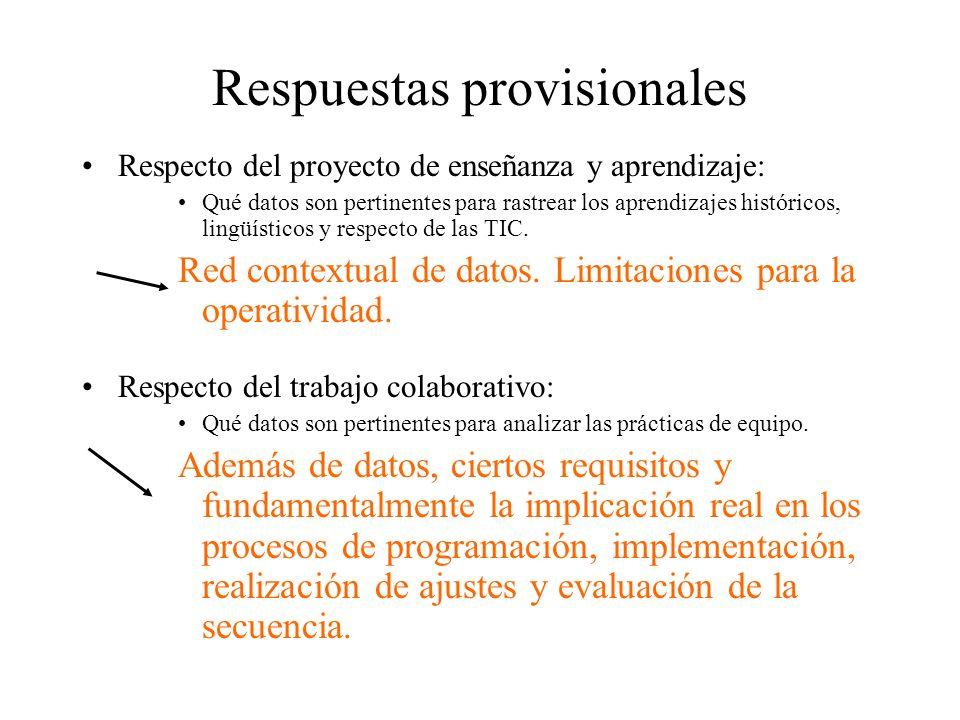 Respuestas provisionales Respecto del proyecto de enseñanza y aprendizaje: Qué datos son pertinentes para rastrear los aprendizajes históricos, lingüí