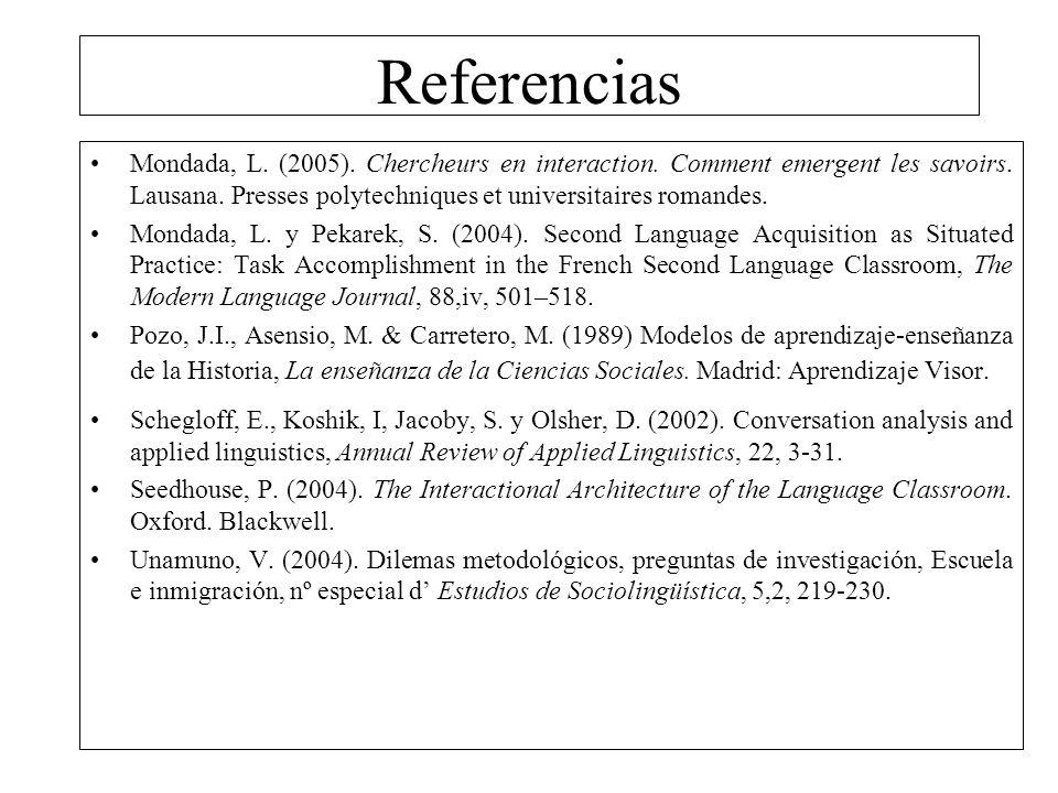 Referencias Mondada, L. (2005). Chercheurs en interaction. Comment emergent les savoirs. Lausana. Presses polytechniques et universitaires romandes. M