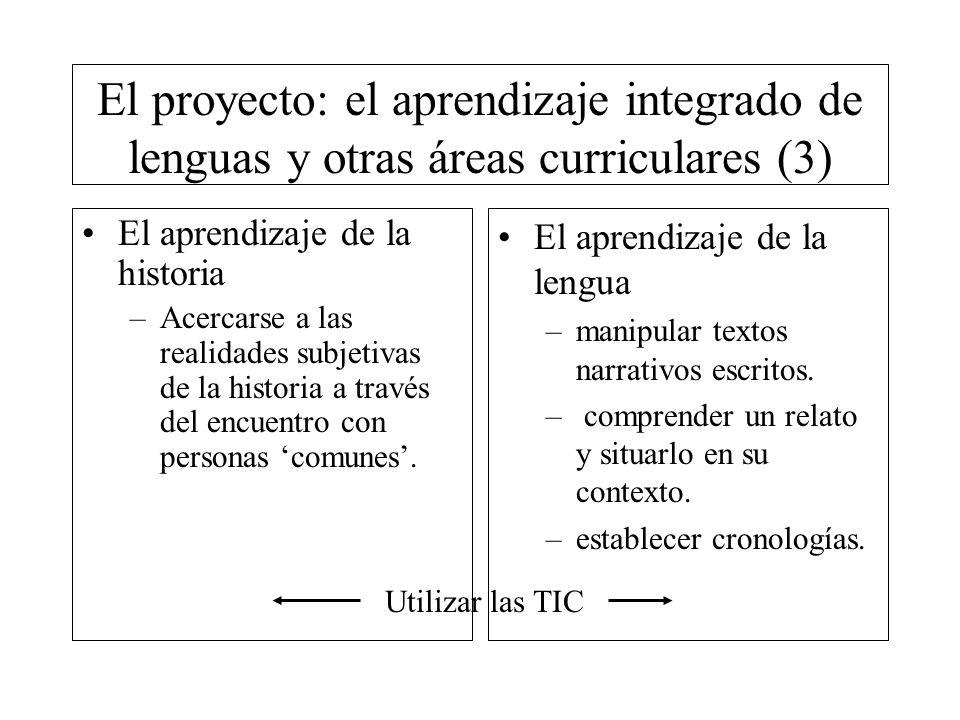 El proyecto: el aprendizaje integrado de lenguas y otras áreas curriculares (3) El aprendizaje de la historia –Acercarse a las realidades subjetivas d