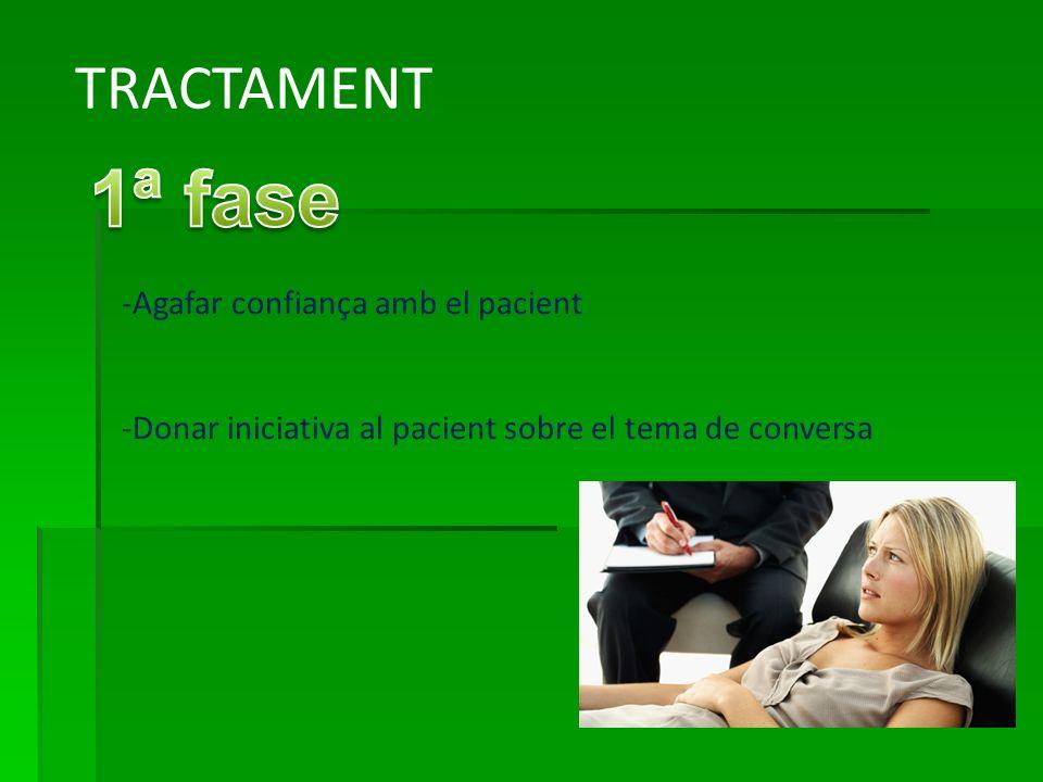 TRACTAMENT -Agafar confiança amb el pacient -Donar iniciativa al pacient sobre el tema de conversa