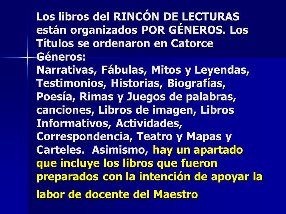 Los libros del RINCÓN DE LECTURAS están organizados POR GÉNEROS.