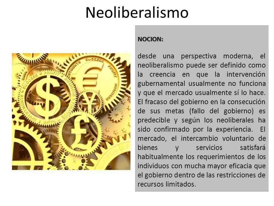 NOCION: desde una perspectiva moderna, el neoliberalismo puede ser definido como la creencia en que la intervención gubernamental usualmente no funcio