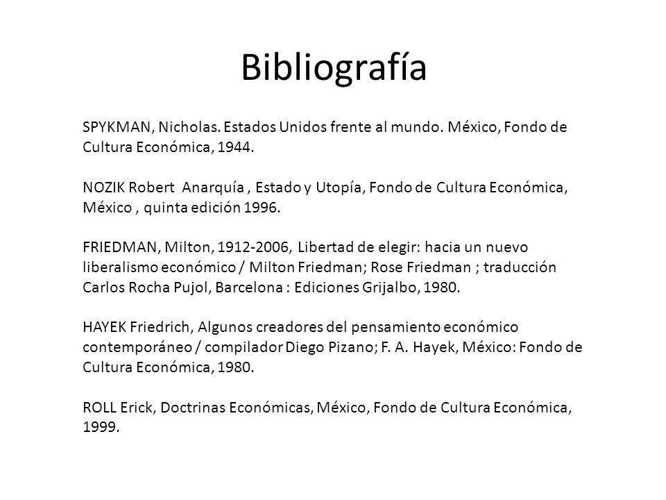 Bibliografía SPYKMAN, Nicholas. Estados Unidos frente al mundo. México, Fondo de Cultura Económica, 1944. NOZIK Robert Anarquía, Estado y Utopía, Fond