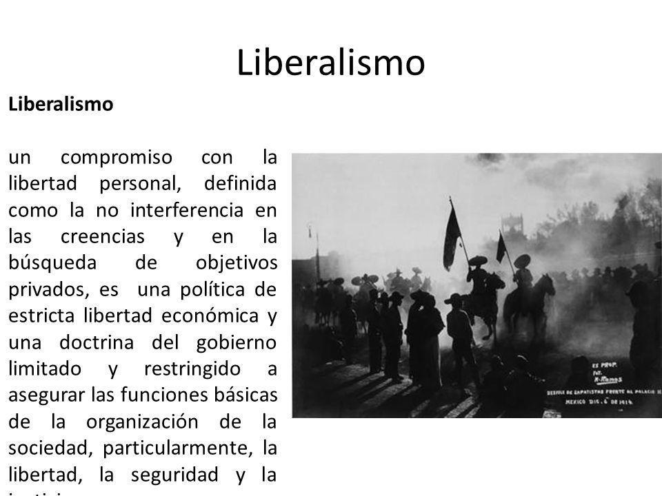 Liberalismo un compromiso con la libertad personal, definida como la no interferencia en las creencias y en la búsqueda de objetivos privados, es una