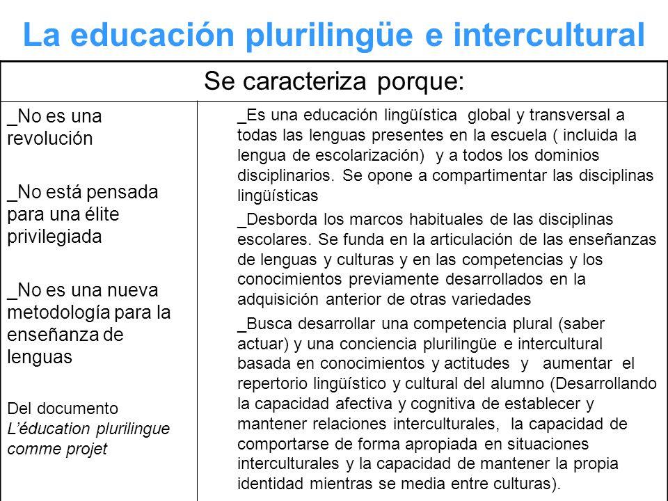 La educación plurilingüe e intercultural Se caracteriza porque: _No es una revolución _No está pensada para una élite privilegiada _No es una nueva me
