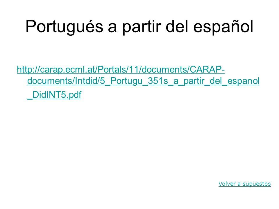 Portugués a partir del español http://carap.ecml.at/Portals/11/documents/CARAP- documents/Intdid/5_Portugu_351s_a_partir_del_espanol _DidINT5.pdf Volv