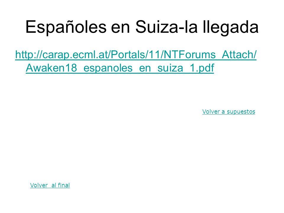 Españoles en Suiza-la llegada http://carap.ecml.at/Portals/11/NTForums_Attach/ Awaken18_espanoles_en_suiza_1.pdf Volver a supuestos Volver al final