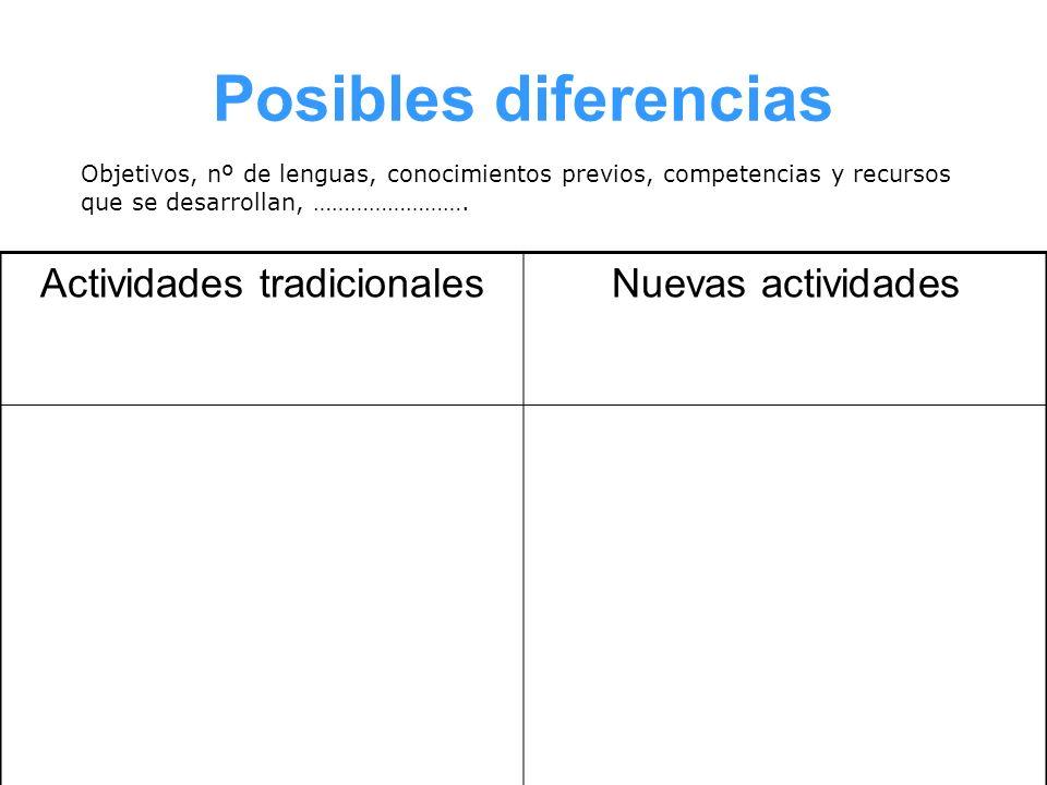 Posibles diferencias Actividades tradicionalesNuevas actividades Objetivos, nº de lenguas, conocimientos previos, competencias y recursos que se desar