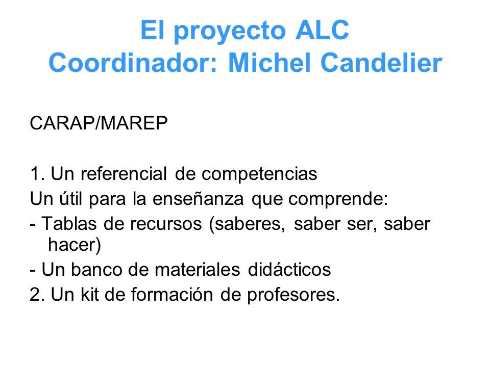 El proyecto ALC Coordinador: Michel Candelier CARAP/MAREP 1. Un referencial de competencias Un útil para la enseñanza que comprende: - Tablas de recur