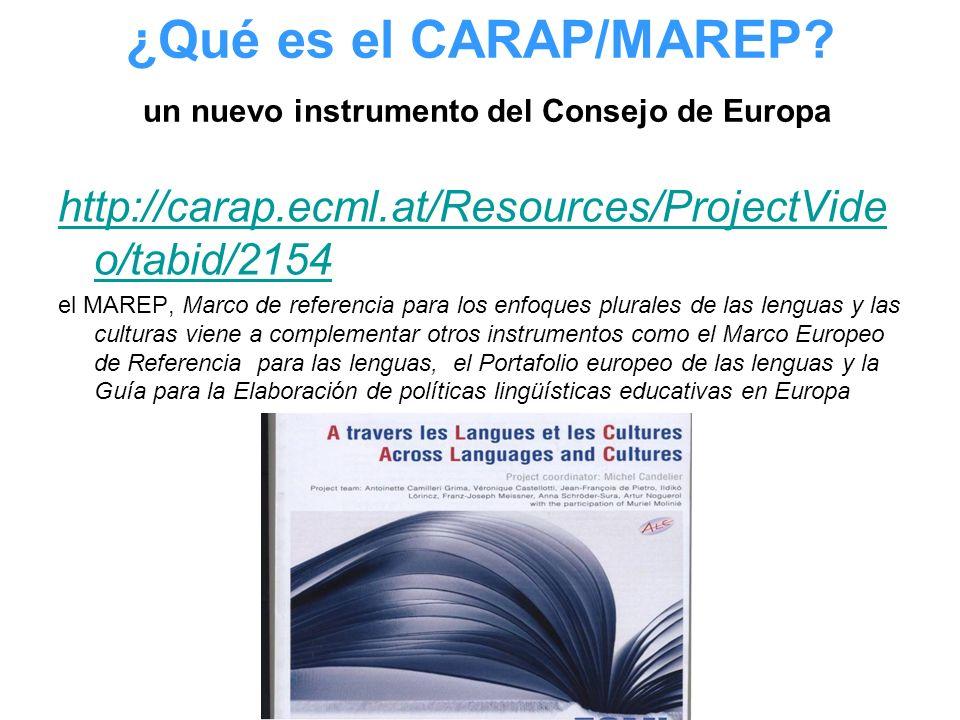¿Qué es el CARAP/MAREP? un nuevo instrumento del Consejo de Europa http://carap.ecml.at/Resources/ProjectVide o/tabid/2154 el MAREP, Marco de referenc
