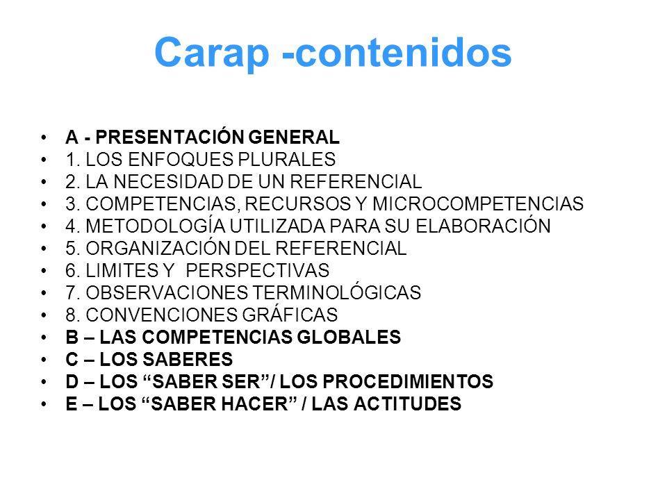 Carap -contenidos A - PRESENTACIÓN GENERAL 1. LOS ENFOQUES PLURALES 2. LA NECESIDAD DE UN REFERENCIAL 3. COMPETENCIAS, RECURSOS Y MICROCOMPETENCIAS 4.