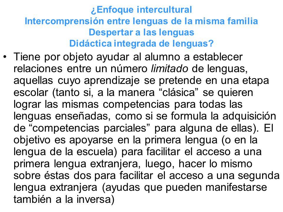 ¿Enfoque intercultural Intercomprensión entre lenguas de la misma familia Despertar a las lenguas Didáctica integrada de lenguas? Tiene por objeto ayu