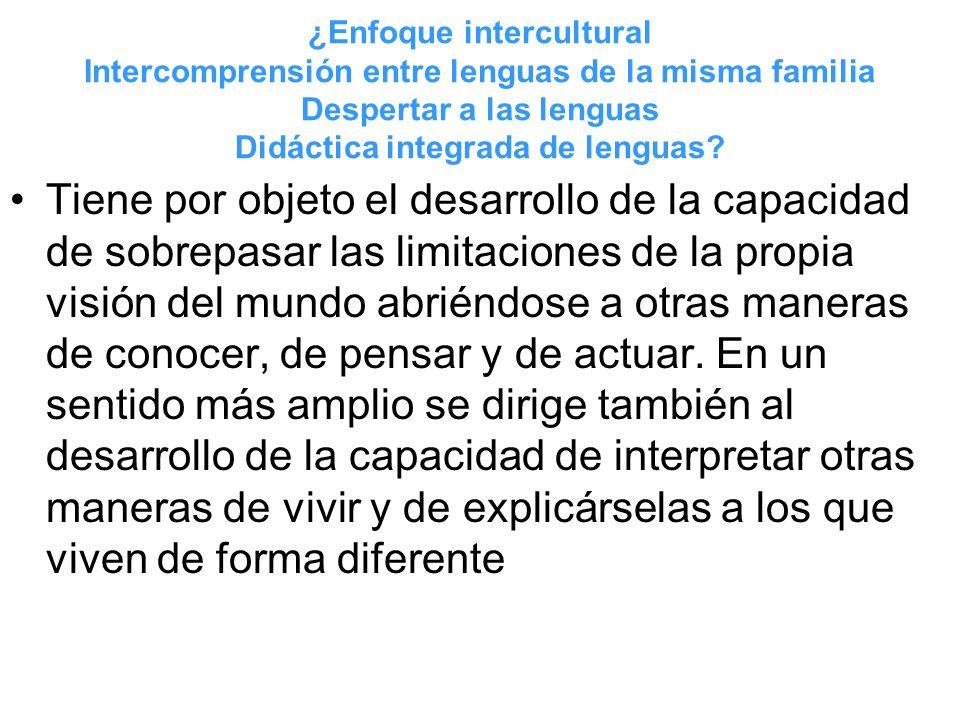 ¿Enfoque intercultural Intercomprensión entre lenguas de la misma familia Despertar a las lenguas Didáctica integrada de lenguas? Tiene por objeto el