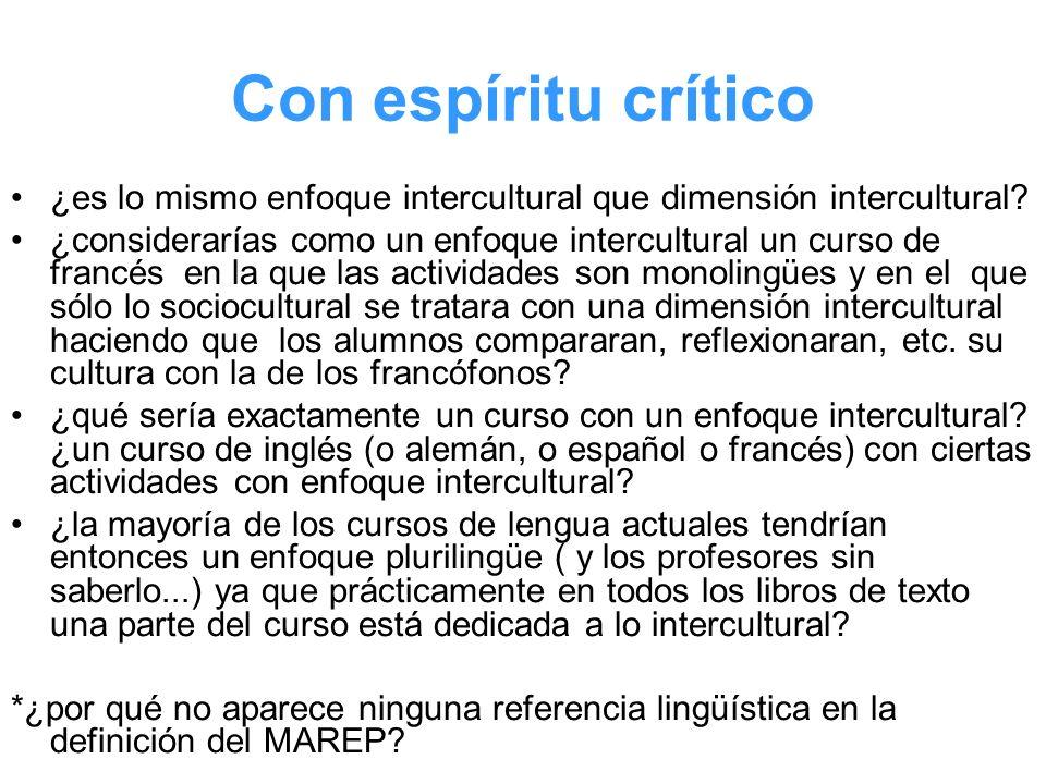 Con espíritu crítico ¿es lo mismo enfoque intercultural que dimensión intercultural? ¿considerarías como un enfoque intercultural un curso de francés