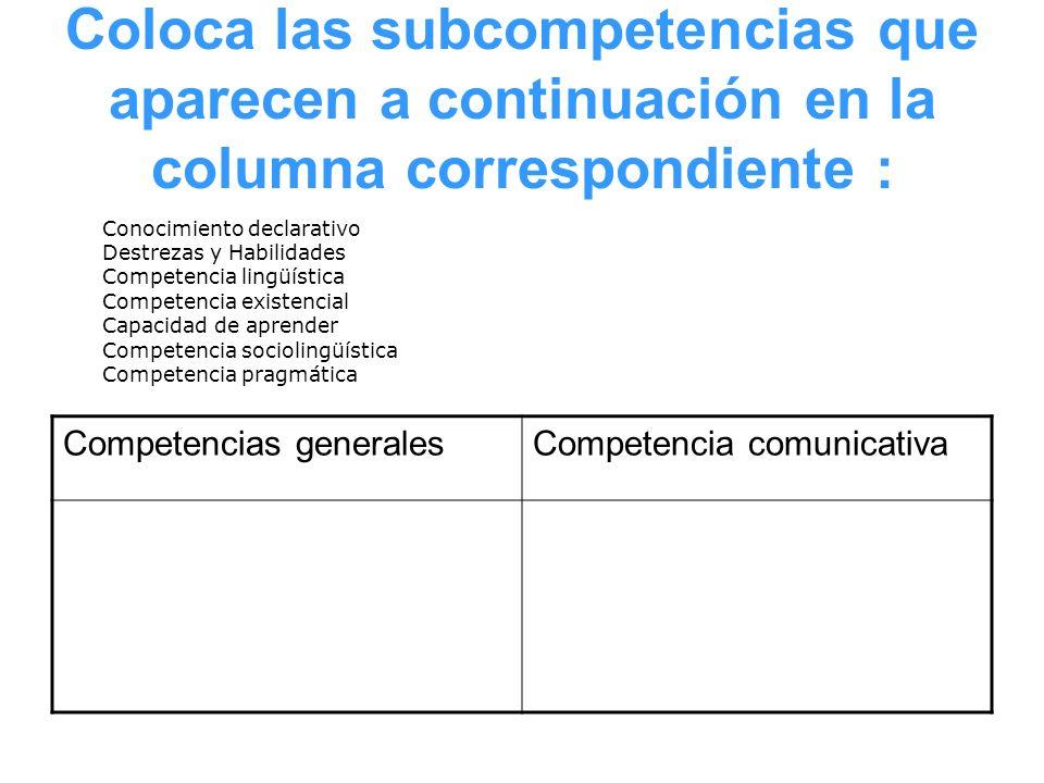 Coloca las subcompetencias que aparecen a continuación en la columna correspondiente : Competencias generalesCompetencia comunicativa Conocimiento dec
