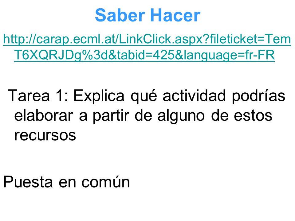 Saber Hacer http://carap.ecml.at/LinkClick.aspx?fileticket=Tem T6XQRJDg%3d&tabid=425&language=fr-FR Tarea 1: Explica qué actividad podrías elaborar a