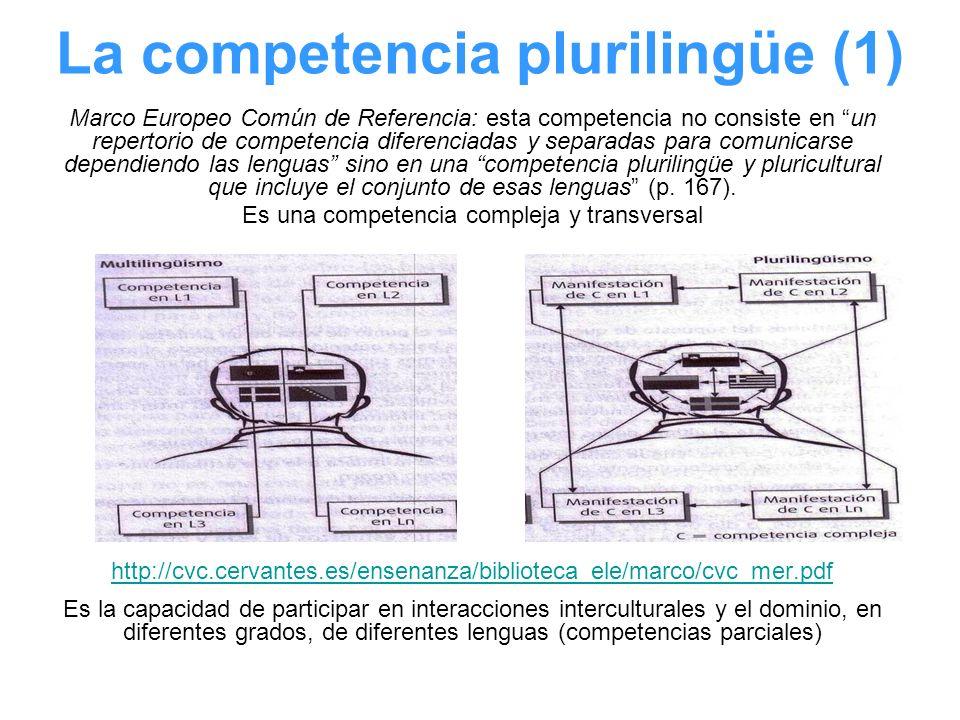 La competencia plurilingüe (1) Marco Europeo Común de Referencia: esta competencia no consiste en un repertorio de competencia diferenciadas y separad