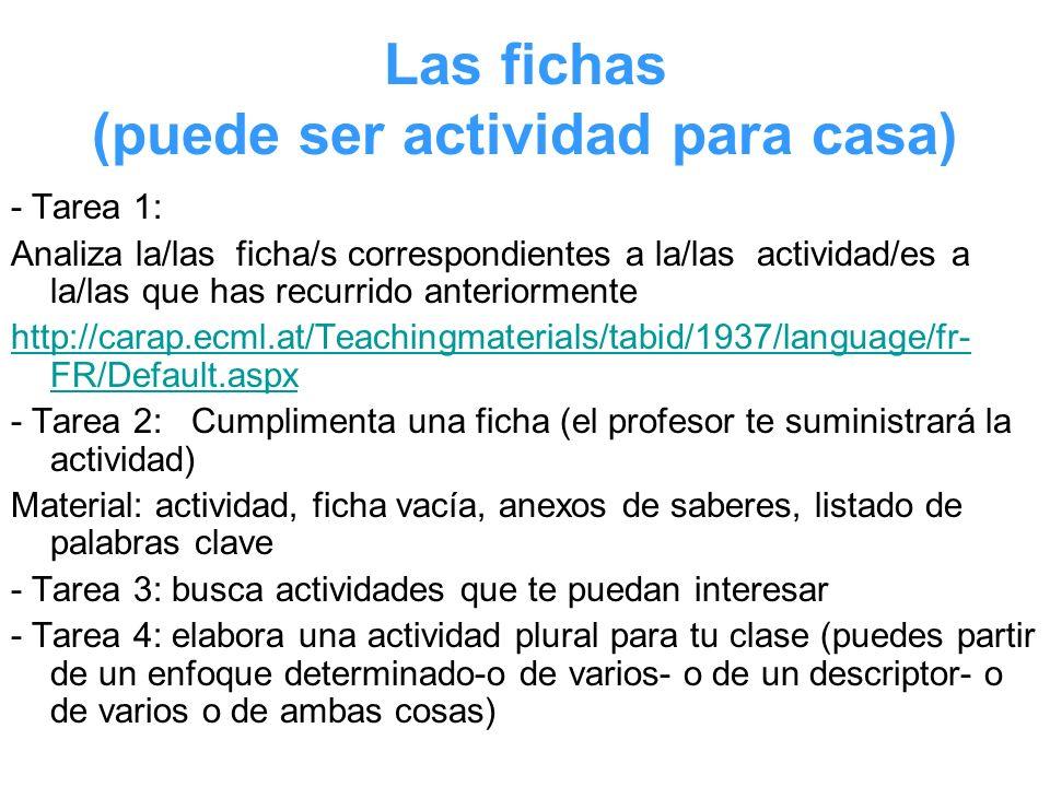 Las fichas (puede ser actividad para casa) - Tarea 1: Analiza la/las ficha/s correspondientes a la/las actividad/es a la/las que has recurrido anterio