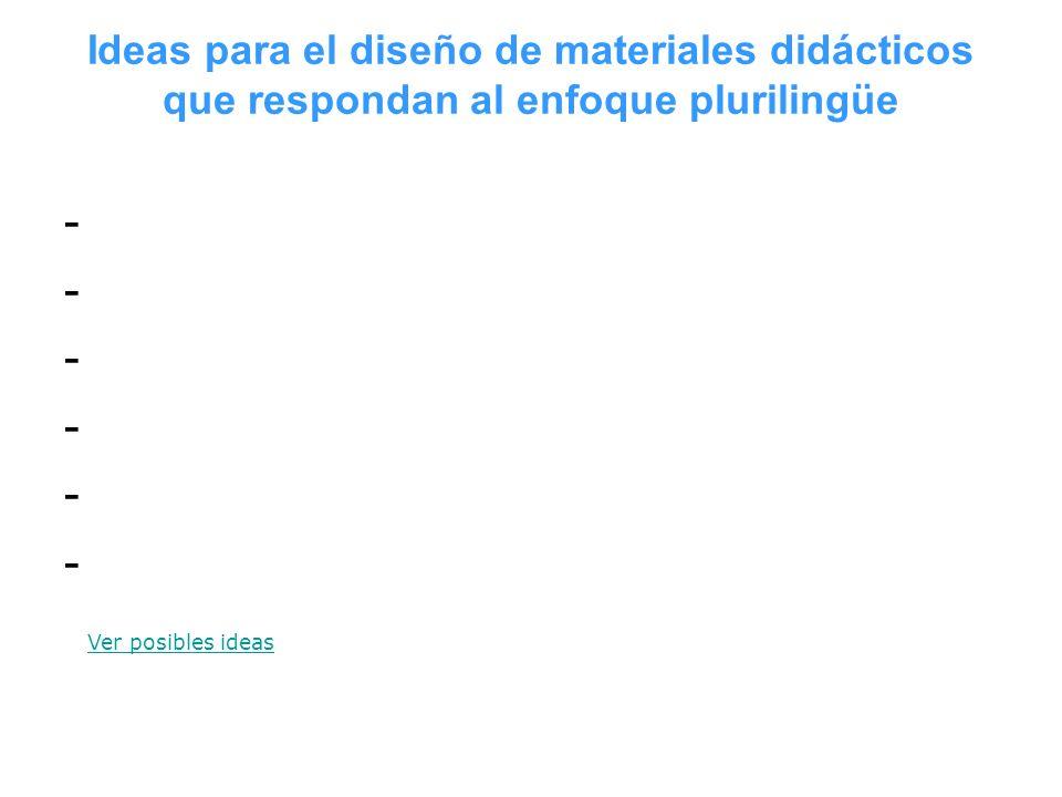 Ideas para el diseño de materiales didácticos que respondan al enfoque plurilingüe ------------ Ver posibles ideas