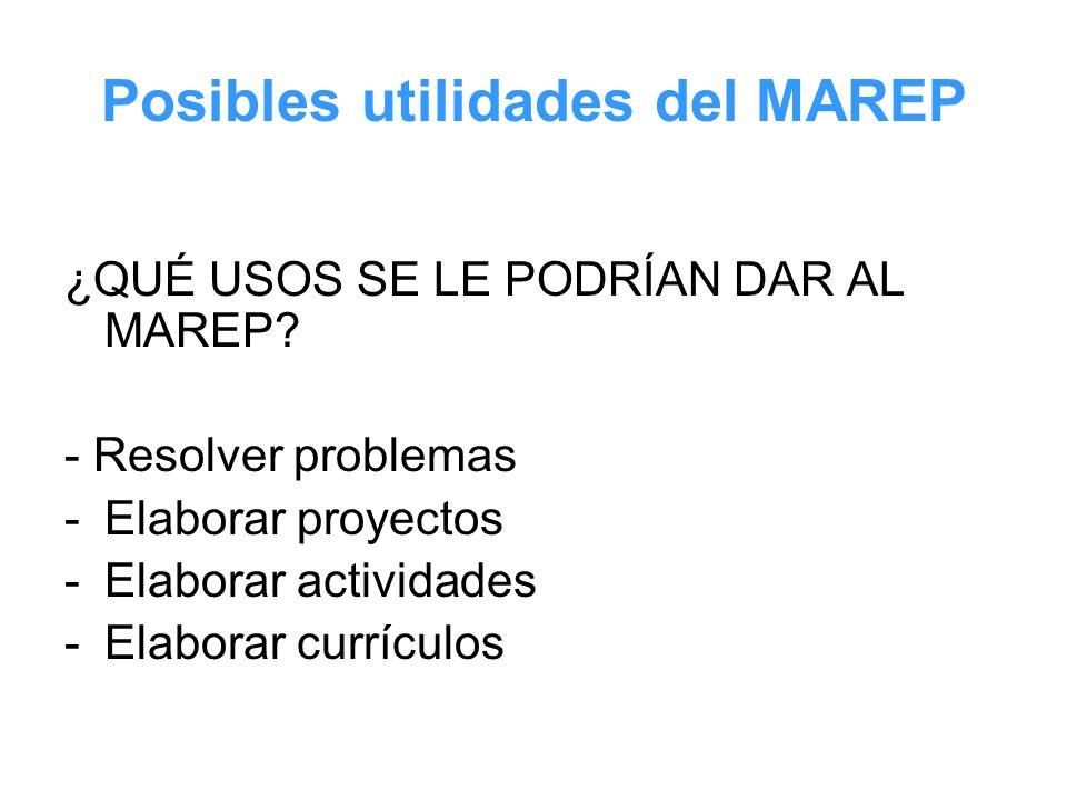 Posibles utilidades del MAREP ¿QUÉ USOS SE LE PODRÍAN DAR AL MAREP? - Resolver problemas -Elaborar proyectos -Elaborar actividades -Elaborar currículo