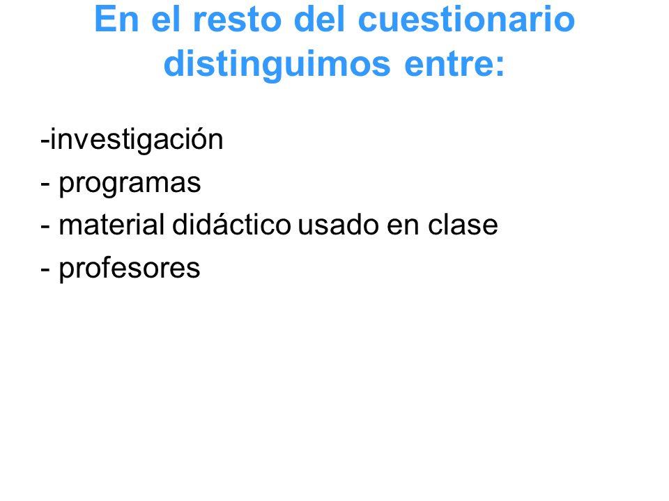 En el resto del cuestionario distinguimos entre: -investigación - programas - material didáctico usado en clase - profesores