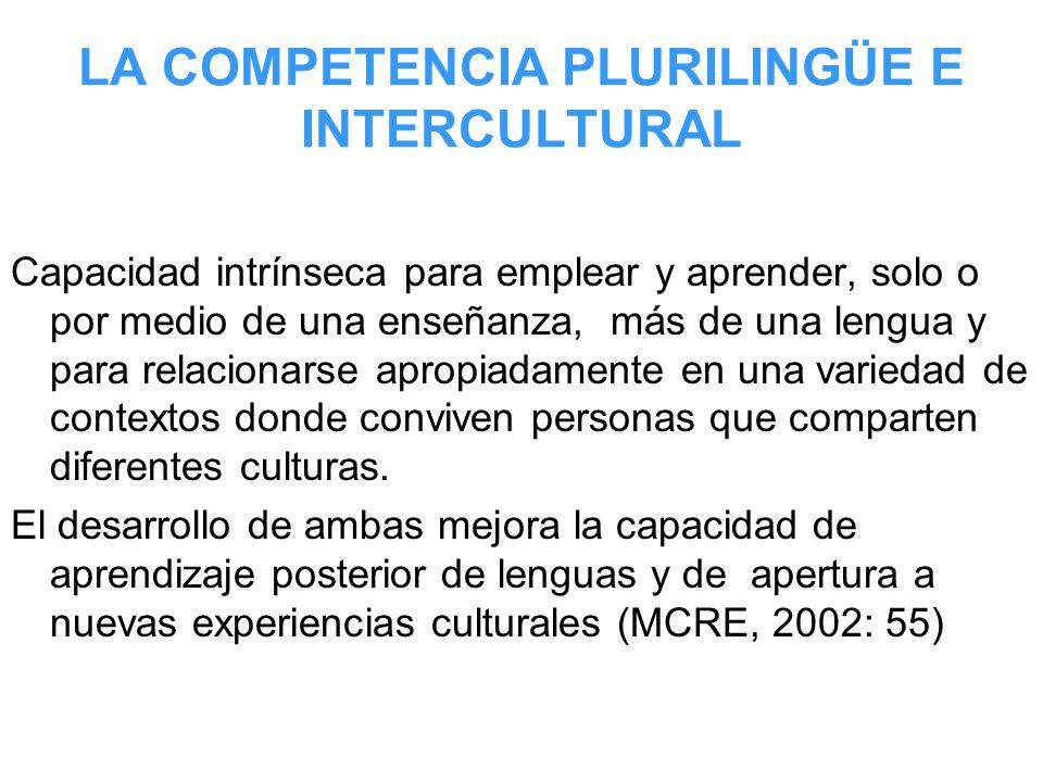 LA COMPETENCIA PLURILINGÜE E INTERCULTURAL Capacidad intrínseca para emplear y aprender, solo o por medio de una enseñanza, más de una lengua y para r