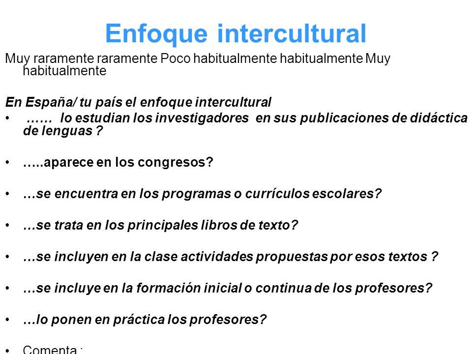 Enfoque intercultural Muy raramente raramente Poco habitualmente habitualmente Muy habitualmente En España/ tu país el enfoque intercultural …… lo est