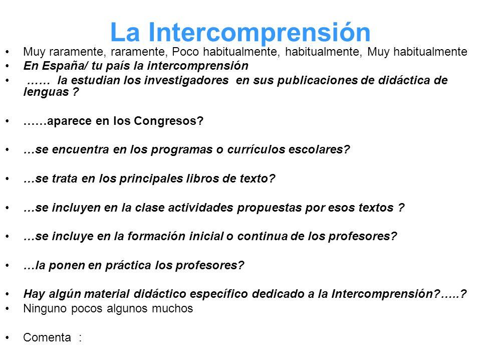 La Intercomprensión Muy raramente, raramente, Poco habitualmente, habitualmente, Muy habitualmente En España/ tu país la intercomprensión …… la estudi
