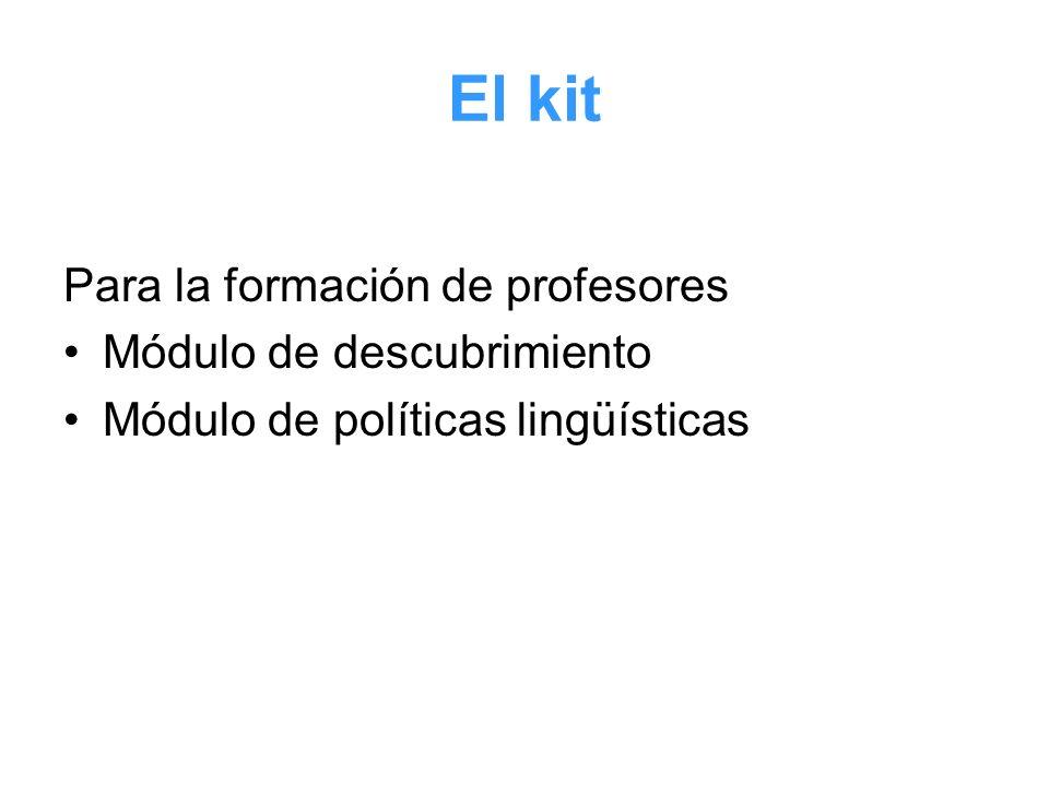 El kit Para la formación de profesores Módulo de descubrimiento Módulo de políticas lingüísticas