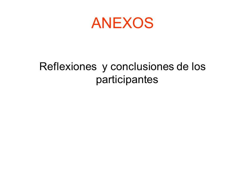 ANEXOS Reflexiones y conclusiones de los participantes