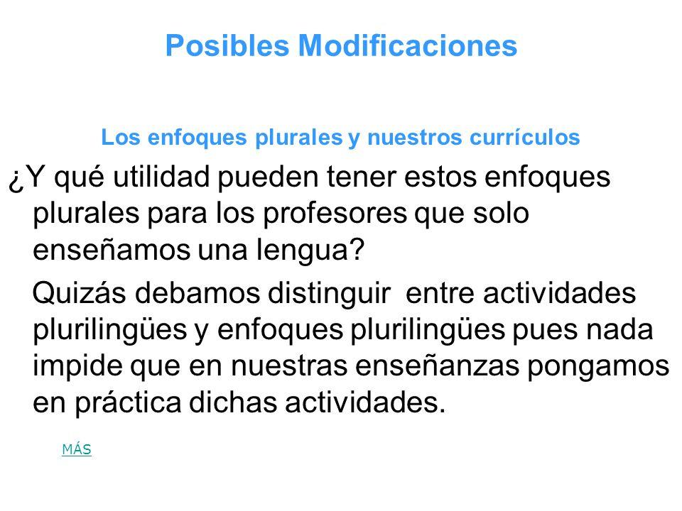 Posibles Modificaciones Los enfoques plurales y nuestros currículos ¿Y qué utilidad pueden tener estos enfoques plurales para los profesores que solo