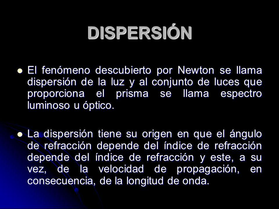 DISPERSIÓN El fenómeno descubierto por Newton se llama dispersión de la luz y al conjunto de luces que proporciona el prisma se llama espectro luminos