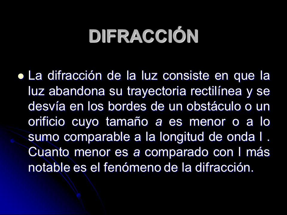 DIFRACCIÓN La difracción de la luz consiste en que la luz abandona su trayectoria rectilínea y se desvía en los bordes de un obstáculo o un orificio c