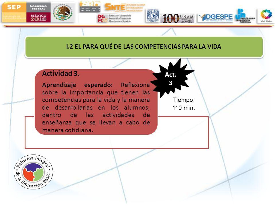 I.2 EL PARA QUÉ DE LAS COMPETENCIAS PARA LA VIDA Actividad 3. Aprendizaje esperado: Reflexiona sobre la importancia que tienen las competencias para l