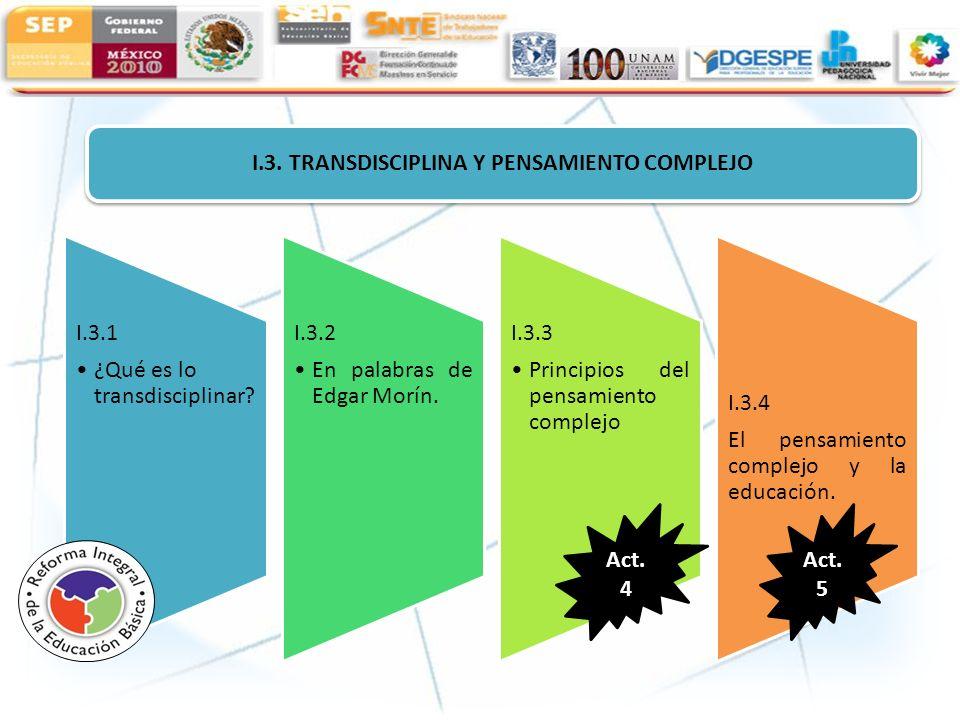 I.3. TRANSDISCIPLINA Y PENSAMIENTO COMPLEJO I.3.1 ¿Qué es lo transdisciplinar? I.3.2 En palabras de Edgar Morín. I.3.3 Principios del pensamiento comp