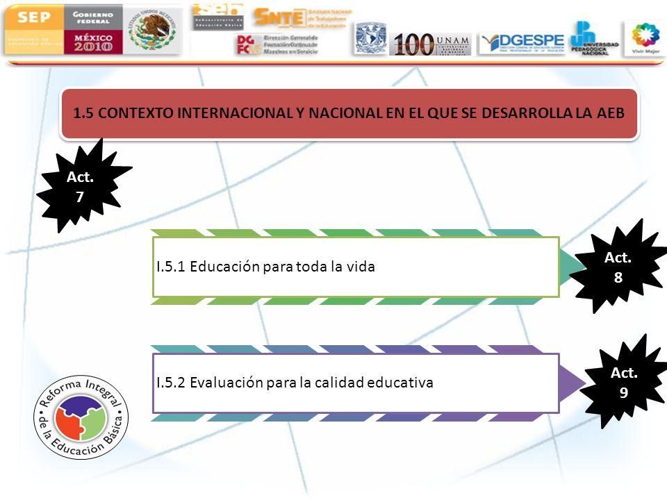 1.5 CONTEXTO INTERNACIONAL Y NACIONAL EN EL QUE SE DESARROLLA LA AEB I.5.1 Educación para toda la vida I.5.2 Evaluación para la calidad educativa Act.