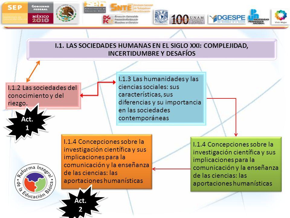 I.1.2 Las sociedades del conocimiento y del riezgo. I.1.3 Las humanidades y las ciencias sociales: sus características, sus diferencias y su importanc