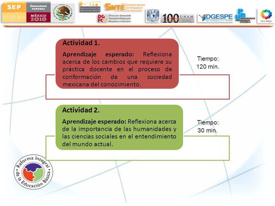 Actividad 1. Aprendizaje esperado: Reflexiona acerca de los cambios que requiere su práctica docente en el proceso de conformación de una sociedad mex