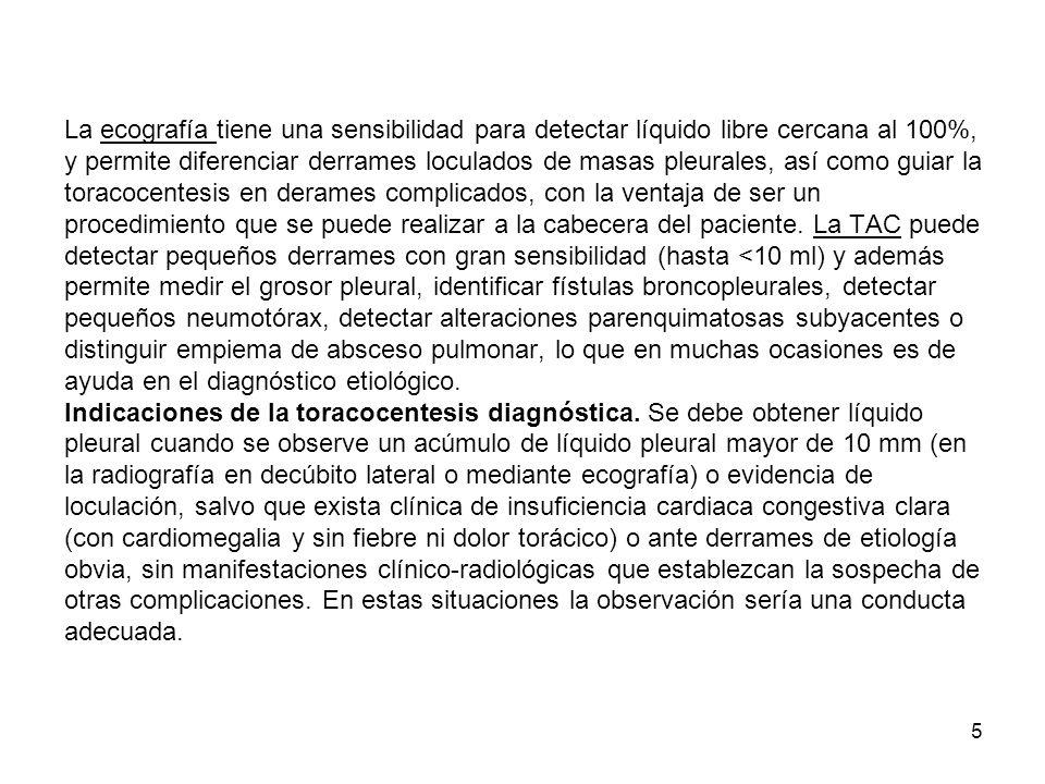 16 B) Derrame pleural tuberculoso.